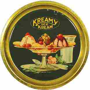 Kreamy Ice Cream litho on tin tray, pictures a yum