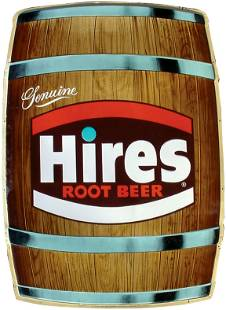 Hires Root Beer barrel sign, litho on embossed tin