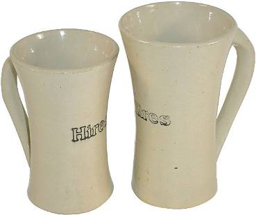 Hires Root Beer stoneware mugs (2); both w/applied