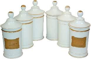 Apothecary jars (6); white china w/gold trim, 2 w/