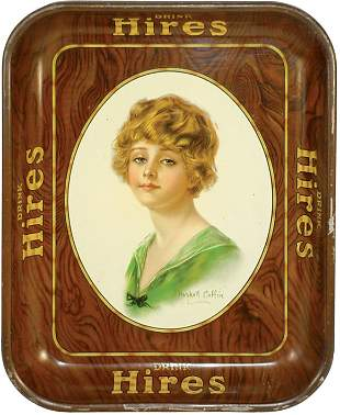 Hires Root Beer litho on tin tray, signed Haskell