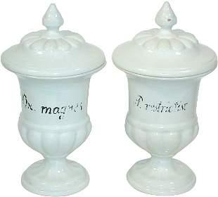 Apothecary jars (2); stoneware pedestal jars w/fin