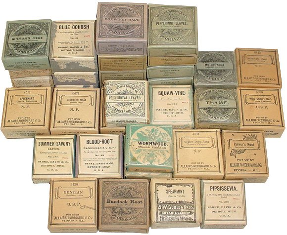 658: Patent medicines; 35+ boxes of early 1900's herbs