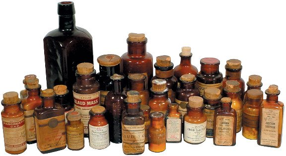 665: Patent medicine bottles; approx. 35 1800's & early