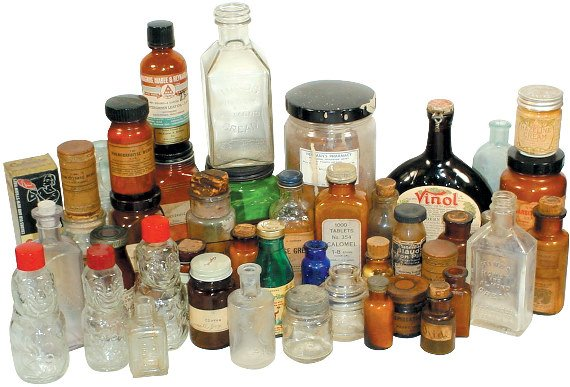 666: Patent medicine bottles; approx. 40 1800's & 1900'