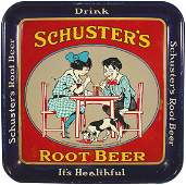 882 Schusters Root Beer litho on tin tray Drink Sch