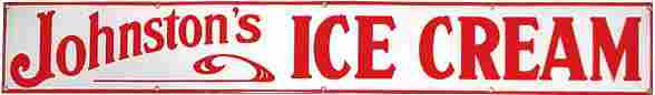 1132: Porcelain Johnston's Ice Cream sign, colorful red