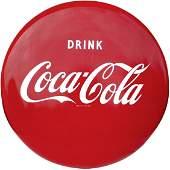 1143: Coca-Cola porcelain button sign, c.1950's, Exc. c