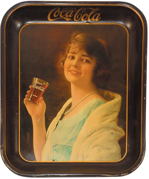 1224: Coca-Cola serving tray, 1923 Girl in White Mink S