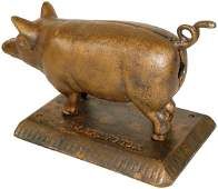 1245 Figural cigar cutter pig wcurly tail place cig