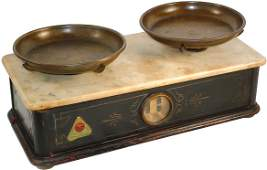 1297: Druggist balance scale w/marble top, carved wood