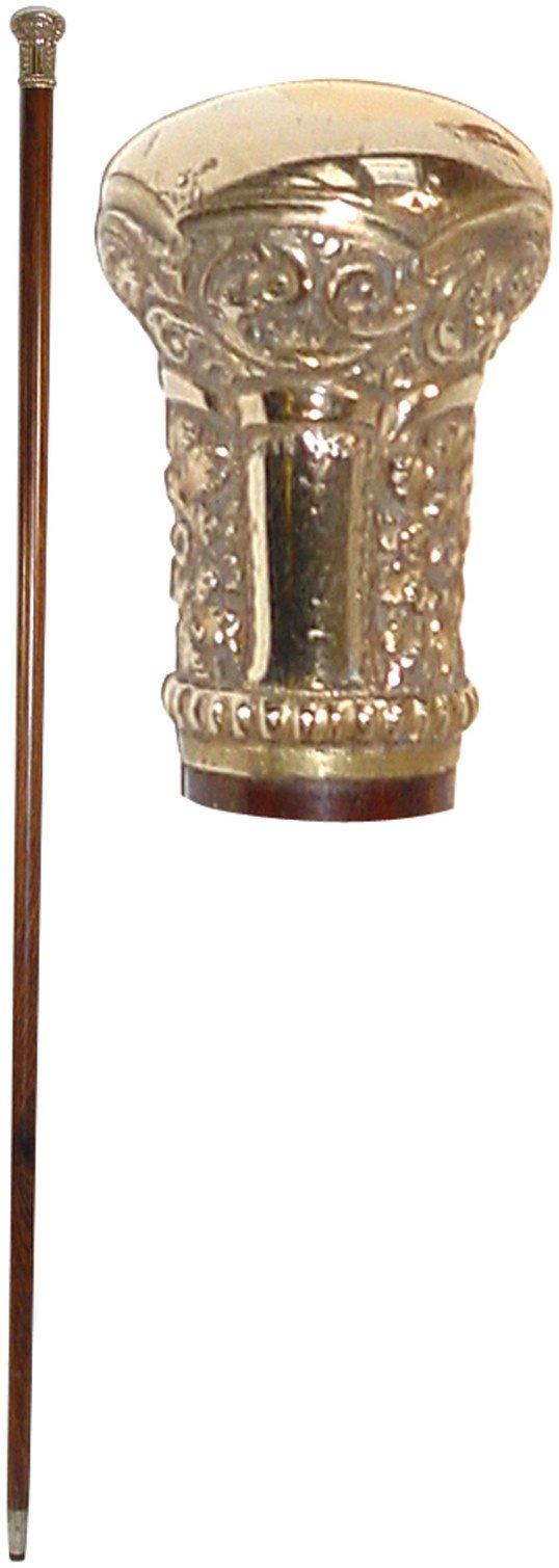 1351: Walking stick, gold handle w/heavy filigree, rose