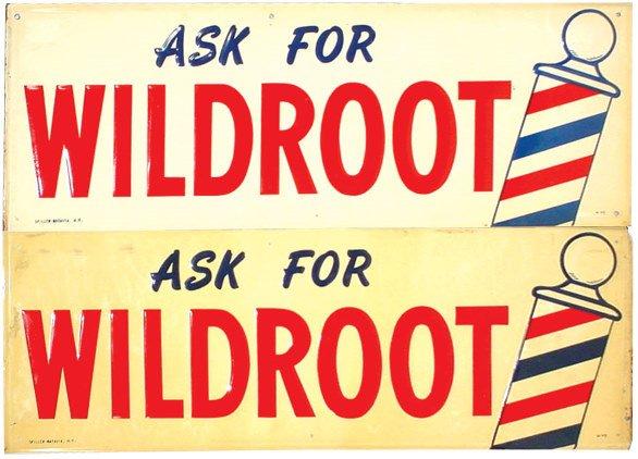 1355: Wildroot barbershop signs (2); self framed emboss