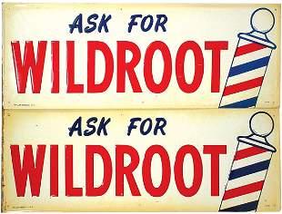 Wildroot barbershop signs (2); self framed emboss