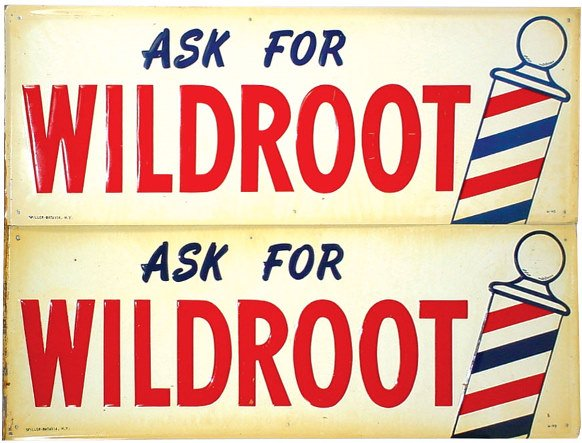 1358: Wildroot barbershop signs (2); self framed emboss