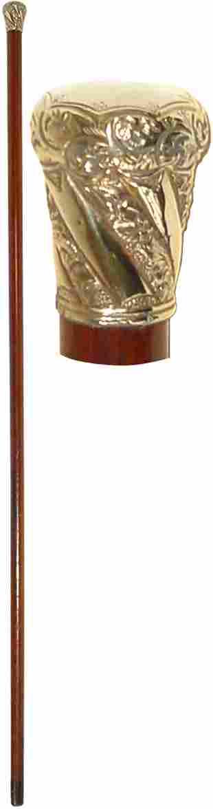 Walking stick, gold handle w/floral filigree, W.