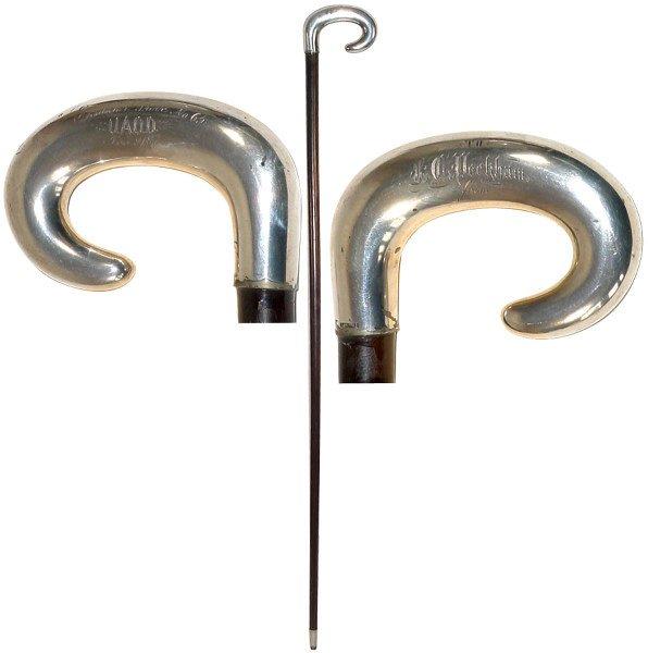 1360: Fraternal walking stick, sterling silver crook ha