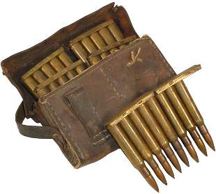 Militaria, WW1 leather cartridge pouch, full of c