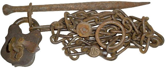 1369: Militaria, US Cavalry hobble chain, tether & padl