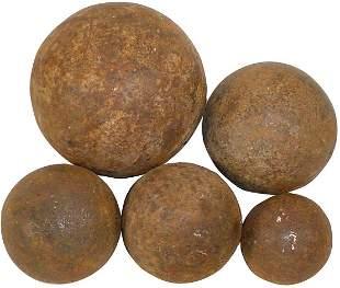 "Militaria, cannon & shot balls (5), 1-5# 3.5"" Dia"
