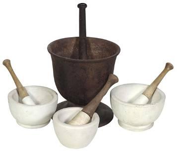 Apothecary Mortars & Pestles (4), large cast iron &