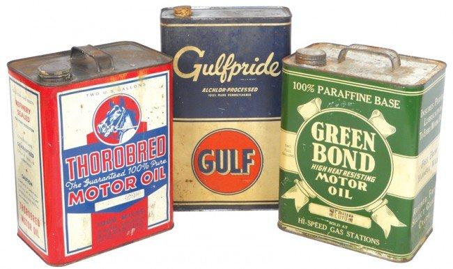 1: Motor oil cans (3), Thorobred, Green Bond & Gulfprid