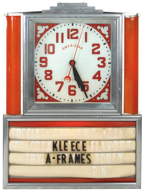 2: Light-up clock w/sign board, Kleece A-Frames in plas