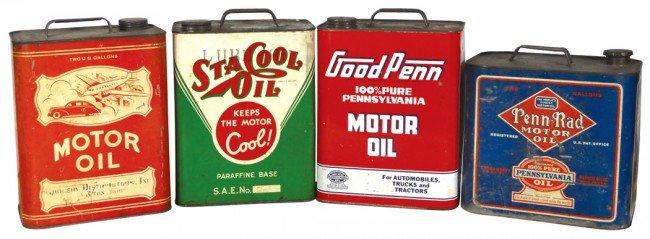 3: Motor oil cans (4), Sta Cool Oil, Good Penn, Penn-Ra