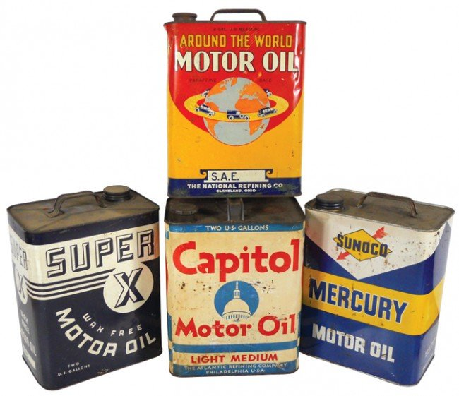 4: Motor oil cans (4), Capitol, Super X, Around The Wor