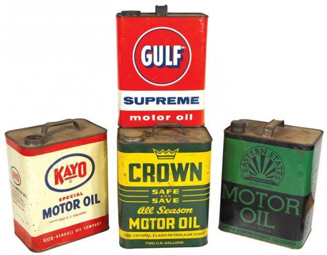 9: Motor oil cans (4), Eastern States, Kayo, Crown & Gu