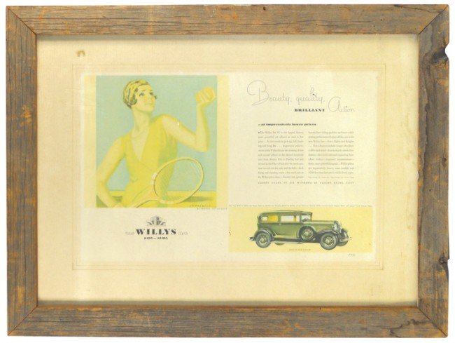 14: Willys advertisement, shows Willys Coach, old barn