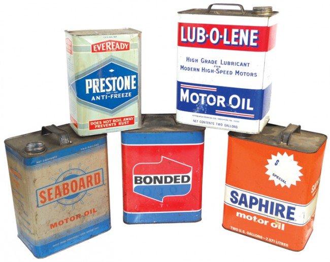 16: Motor oil & anti-freeze cans (5), Prestone, Lub-o-l
