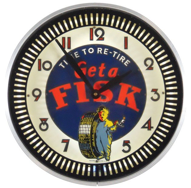 18: Get a Fisk-Time to Retire neon clock, contemporary,