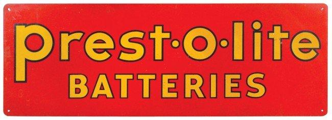 19: Presto-O-Lite Batteries metal sign, colorful red &