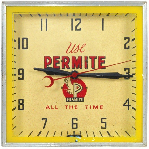 20: Use Permite All The Time neon clock, mfgd by Lackne