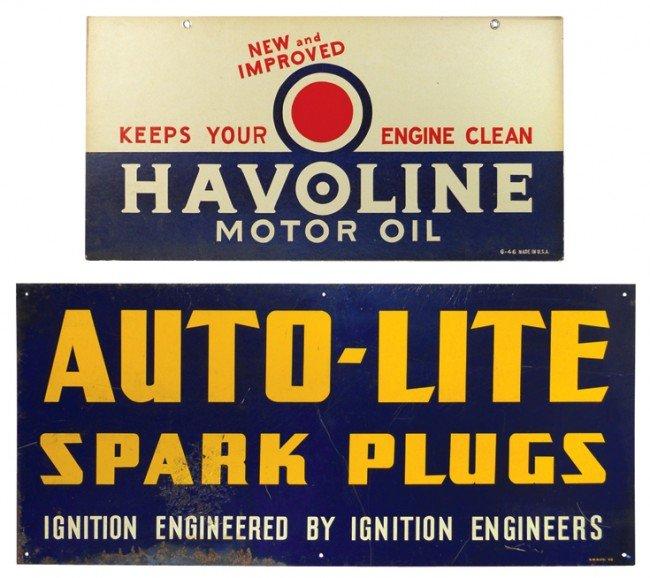 21: Auto-Lite Spark Plugs metal sign & Havoline Motor O