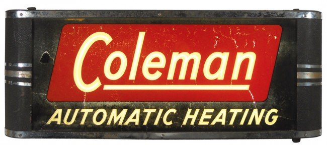 23: Coleman Automatic Heating light-up sign, metal case