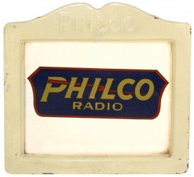 Philco Radio Light-up Sign, Embossed Metal Frame, C