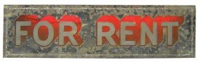 For Rent Light-up Sign, Primitive Metal Sign W/scre