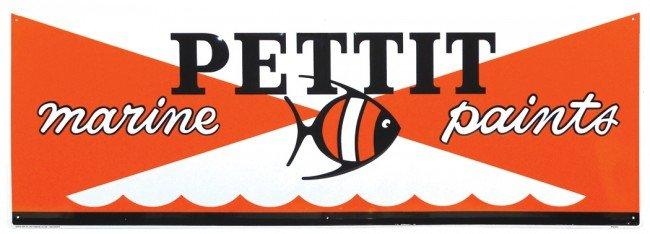 73: Pettit Marine Paints embossed metal sign, colorful,