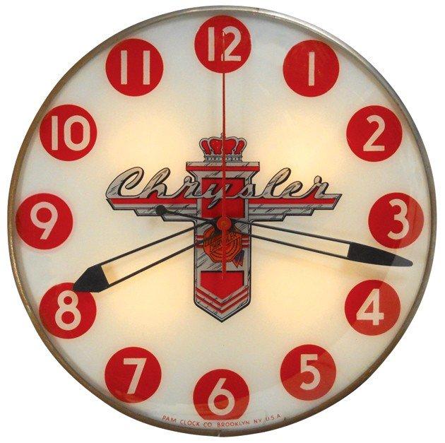 75: Chrysler light-up clock, large size, mfgd by Pam Cl