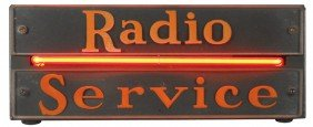 Radio Service Neon Counter Sign, Exc Working Cond,