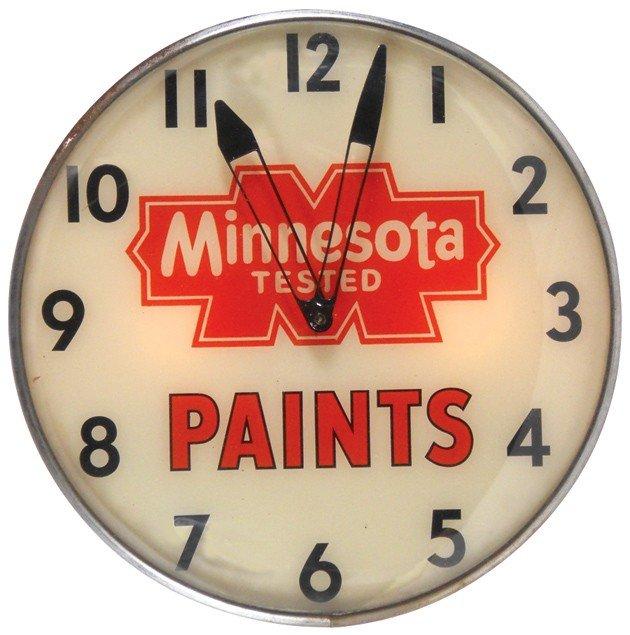 78: Minnesota Tested Paints light-up clock, mfgd by Pam