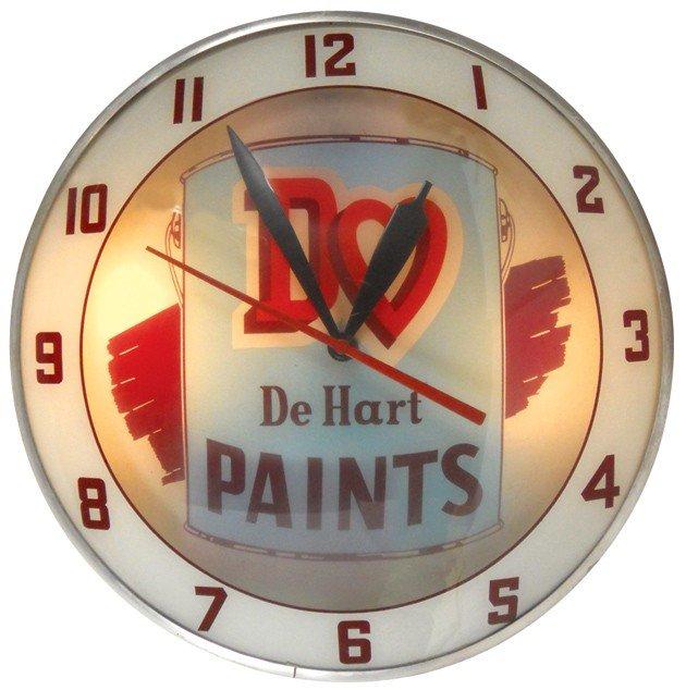 81: DeHart Paints double-bubble light-up clock, mfgd by