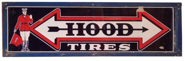 85: Hood Tires sign, 3-color porcelain in wood frame, V