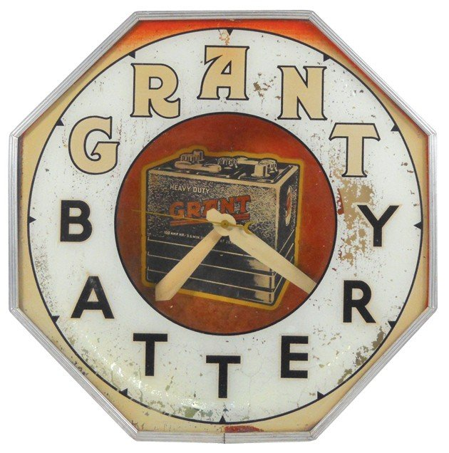 86: Grant Battery neon clock, mfgd by Neon Products Inc