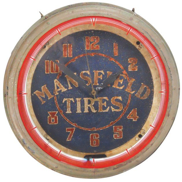 88: Mansfield Tires neon clock, Good working cond w/fad