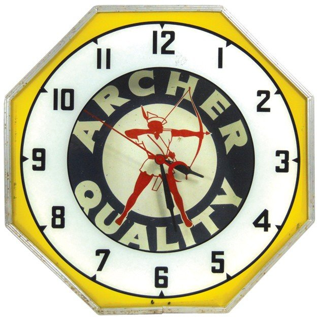 90: Archer Oil neon clock, mfgd by Neon Products Inc.,