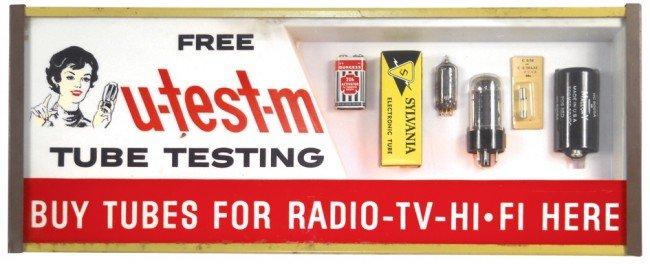 91: u-test-m Tube Testing florescent light-up sign for