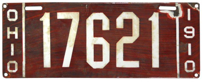 92: Ohio 1910 porcelain license plate, VG cond w/small
